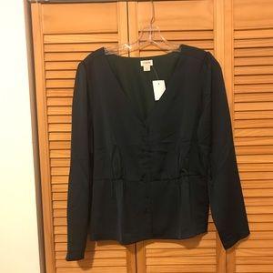 JCrew Satin button-front blouse NWT sz 14